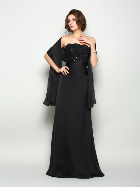 A-Line/Princess Sleeveless Strapless Sweep/Brush Train Chiffon Mother of the Bride Dresses with Beading
