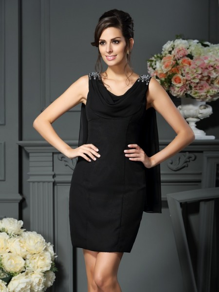 Sheath/Column Scoop Sleeveless Short/Mini Chiffon Mother of the Bride Dresses with Beading