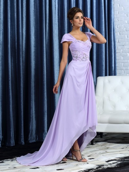 A-Line/Princess Sleeveless Straps Chiffon Asymmetrical Mother of the Bride Dresses with Beading