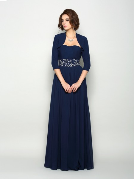 A-Line/Princess Sleeveless Chiffon Sweetheart Floor-Length Mother of the Bride Dresses with Beading