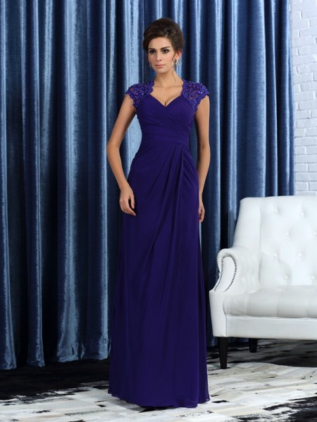 Trumpet/Mermaid V-neck Sleeveless Floor-Length Chiffon Mother of the Bride Dresses