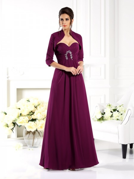 A-Line/Princess Sweetheart Sleeveless Floor-Length Chiffon Mother of the Bride Dresses with Beading