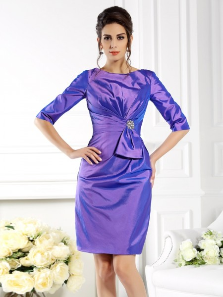 Sheath/Column Bateau 1/2 Sleeves Knee-Length Taffeta Mother of the Bride Dresses
