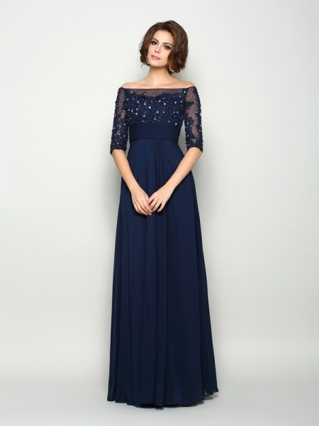A-Line/Princess 1/2 Sleeves Off-the-Shoulder Chiffon Floor-Length Mother of the Bride Dresses with Beading