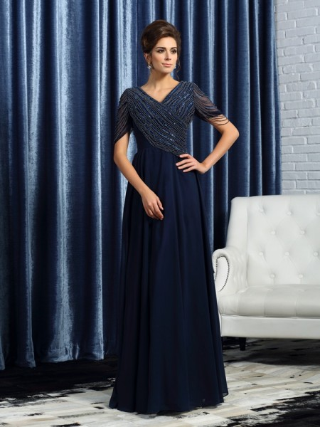Princess V-neck Short Sleeves Floor-Length Chiffon Mother of the Bride Dresses