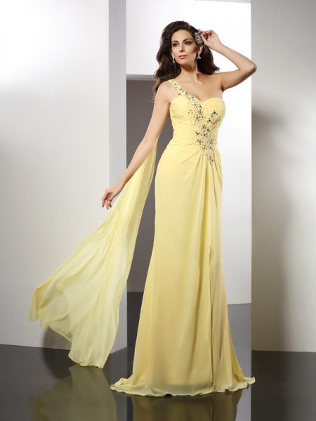 A-Line/Princess One-Shoulder Sleeveless Floor-Length Chiffon Evening/Formal Dresses with Beading