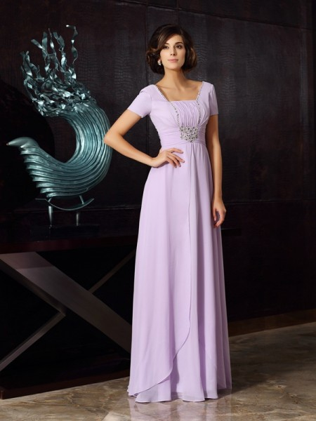 A-Line/Princess Square Short Sleeves Chiffon Floor-Length Dresses with Beading