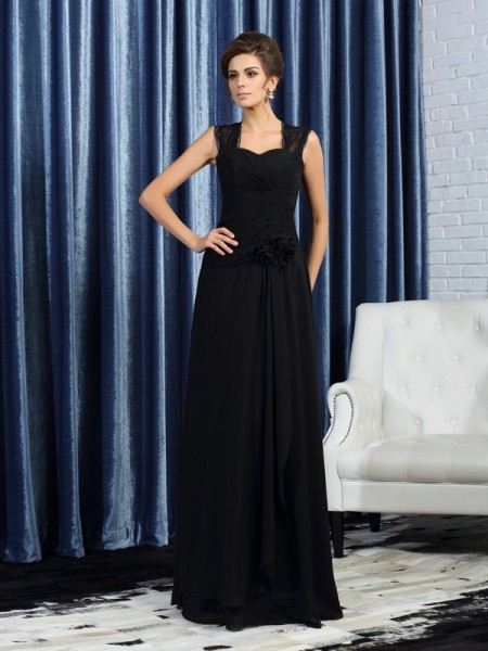 A-Line/Princess Sleeveless Straps Chiffon Floor-Length Mother of the Bride Dresses with Hand-Made Flower
