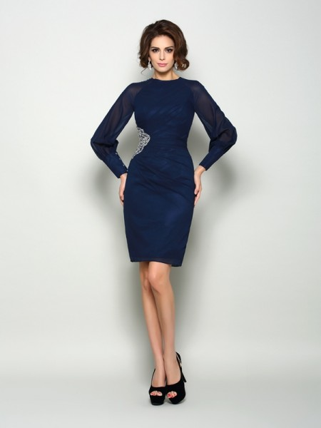 Sheath/Column Long Sleeves High Neck Chiffon Knee-Length Mother of the Bride Dresses with Beading