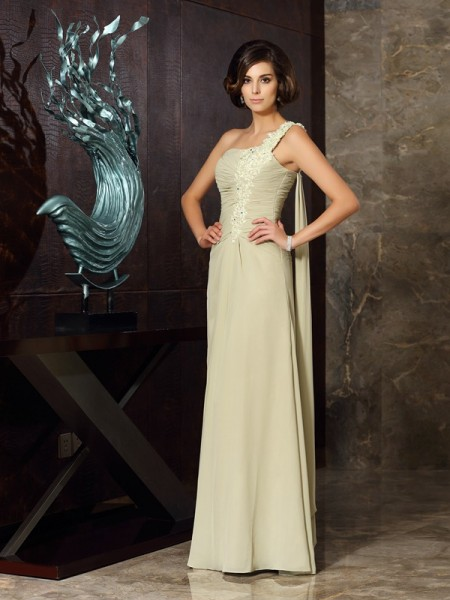 Princess One-Shoulder Sleeveless Floor-Length Chiffon Dresses with Applique