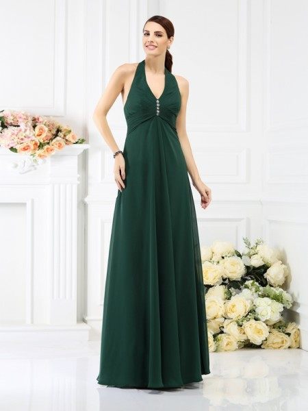 A-Line/Princess Halter Sleeveless Floor-Length Chiffon Bridesmaid Dresses with Beading