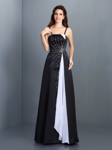A-Line/Princess Spaghetti Straps Sleeveless Floor-Length Chiffon Prom/Evening Dresses
