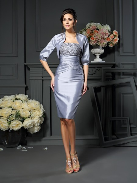 Sheath/Column Sleeveless Sweetheart Knee-length Taffeta Mother of the Bride Dresses