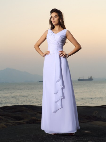 A-Line/Princess V-neck Chiffon Sleeveless Floor-length Beach Wedding Dresses with Pleats Beading