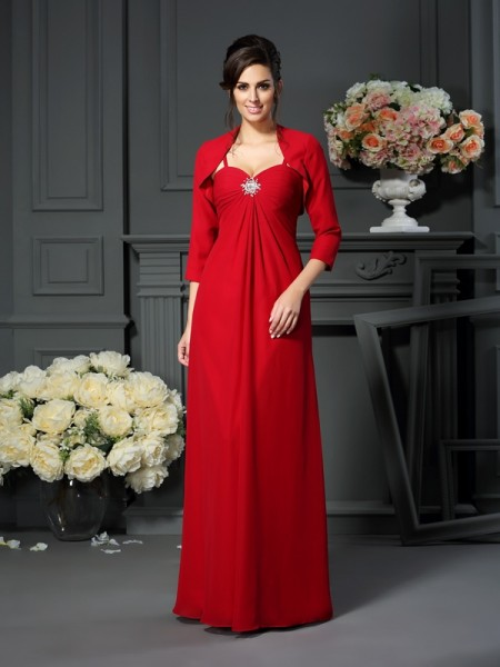 A-Line/Princess Sleeveless Spaghetti Straps Chiffon Floor-Length Mother of the Bride Dresses with Beading