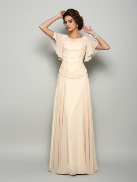 A-Line/Princess Short Sleeves Square Chiffon Floor-Length Mother of the Bride Dresses with Beading