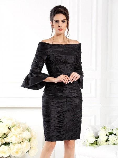 Sheath/Column Off-the-Shoulder 1/2 Sleeves Short/Mini Taffeta Dresses with Ruched