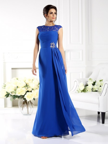 A-Line/Princess Bateau Sleeveless Chiffon Long Dresses with Applique
