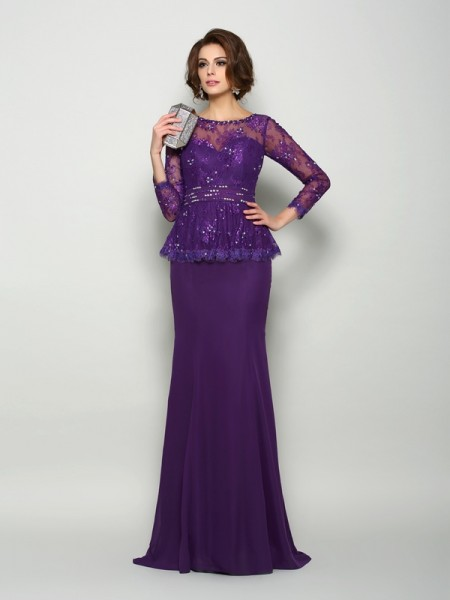 Trumpet/Mermaid Scoop Long Sleeves Chiffon Sweep/Brush Train Mother of the Bride Dresses with Beading