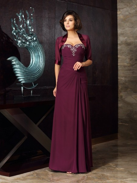 Sheath/Column Sweetheart Chiffon Floor-Length Sleeveless Mother of the Bride Dresses with Beading