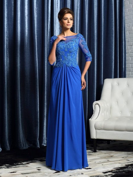 A-Line/Princess 1/2 Sleeves Bateau Floor-Length Chiffon Mother of the Bride Dresses with Applique with Beading