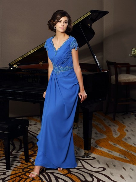 A-Line/Princess Short Sleeves V-neck Chiffon Floor-Length Mother of the Bride Dresses with Applique with Beading