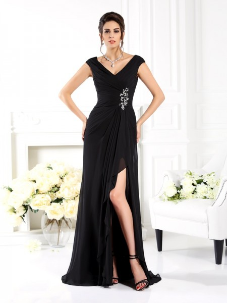 A-Line/Princess V-neck Sleeveless Sweep/Brush Train Chiffon Bridesmaid Dresses with Ruffles