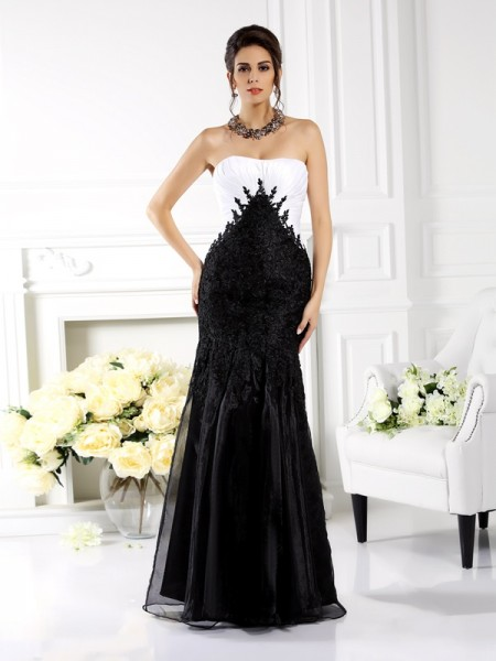 Trumpet/Mermaid Strapless Sleeveless Floor-Length Tulle Dresses with Applique