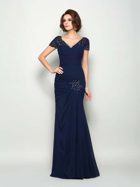 Trumpet/Mermaid Short Sleeves V-neck Chiffon Floor-Length Mother of the Bride Dresses with Beading