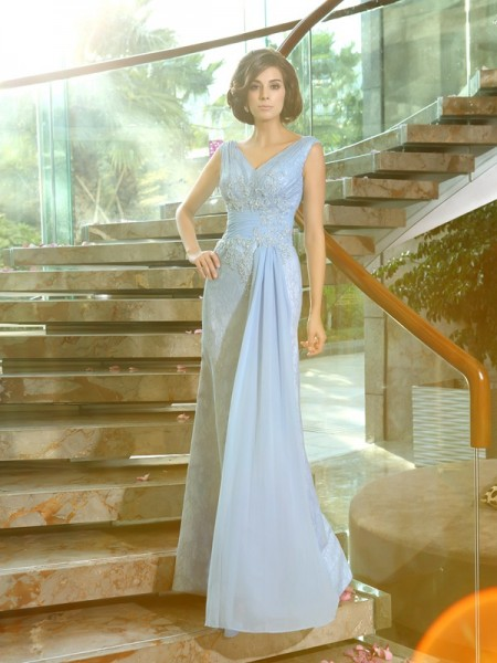Sheath/Column Sleeveless V-neck Lace Floor-Length Mother of the Bride Dresses with Applique with Beading