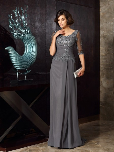 A-Line/Princess Scoop Chiffon 1/2 Sleeves Sweep/Brush Train Mother of the Bride Dresses with Applique with Beading
