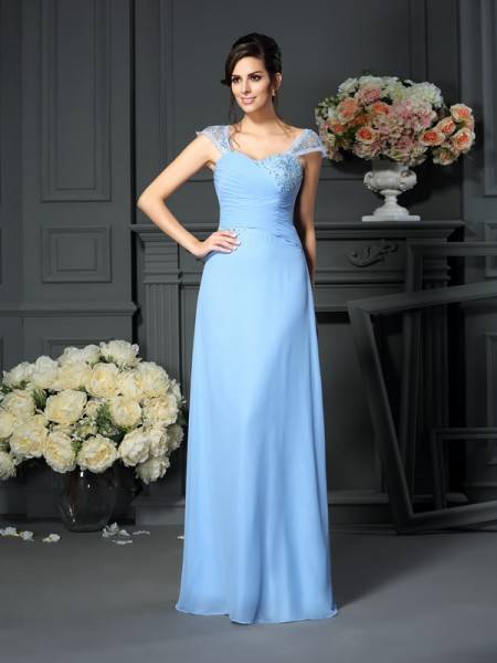 Sheath/Column Straps Floor-Length Sleeveless Chiffon Mother of the Bride Dresses with Pleats