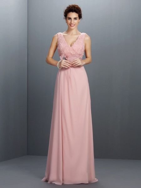 A-Line/Princess V-neck Sleeveless Sweep/Brush Train Chiffon Prom/Evening Dresses with Beading