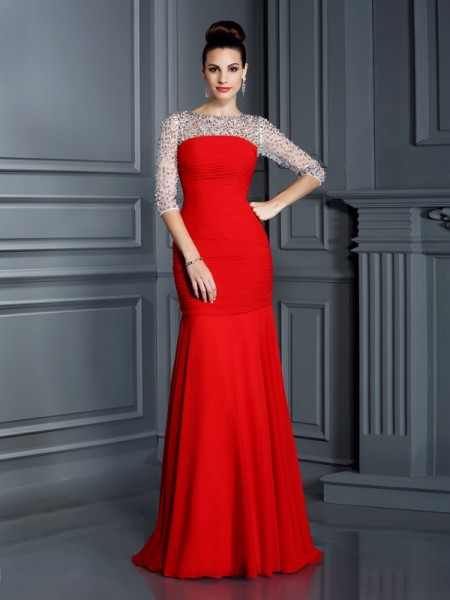 Trumpet/Mermaid Scoop 3/4 Sleeves Floor-Length Chiffon Dresses with Beading