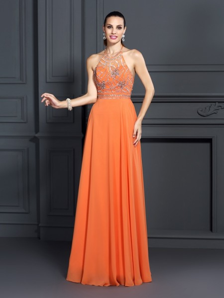 A-Line/Princess Scoop Sleeveless Floor-Length Chiffon Prom/Evening Dresses with Beading