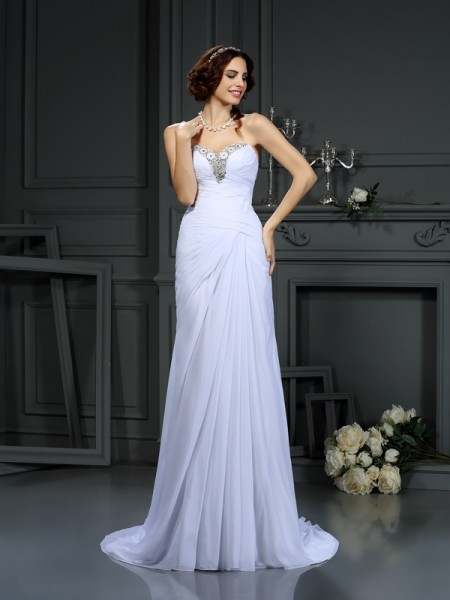 Sheath/Column Sweetheart Sleeveless Sweep/Brush Train Chiffon Wedding Dresses with Beading