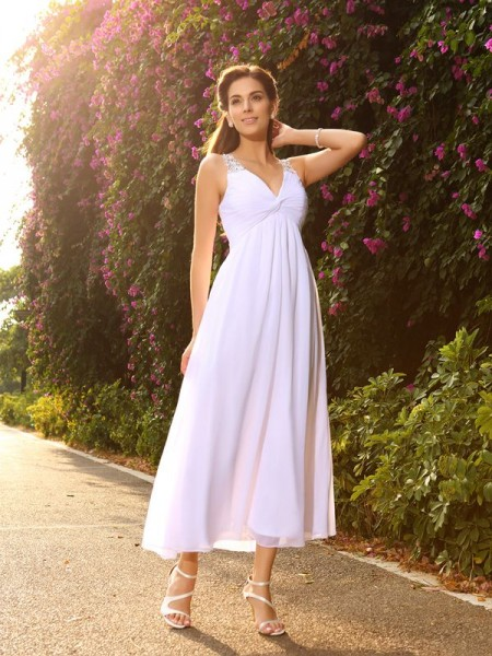 A-Line/Princess Sleeveless V-neck Ankle-Length Chiffon Wedding Dresses with Beading