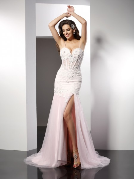 Trumpet/Mermaid Spaghetti Straps Sleeveless Chapel Train Tulle Prom/Evening Dresses with Applique