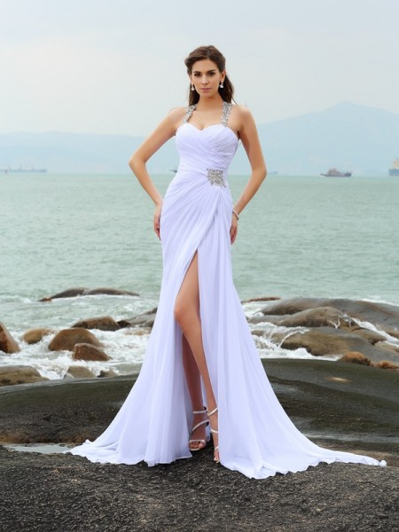 Sheath/Column Sleeveless Chiffon Straps Chapel Train Beach Wedding Dresses with Beading