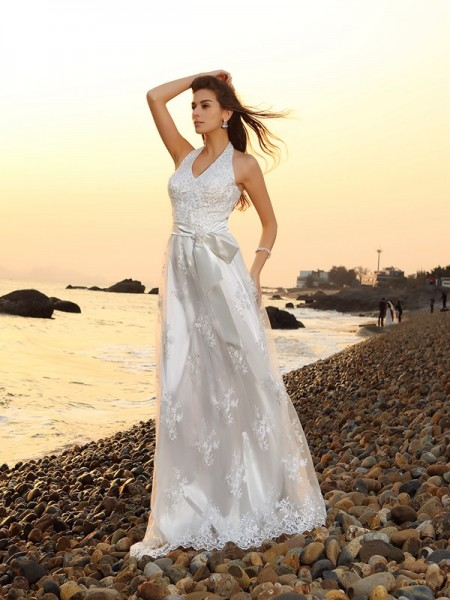 A-Line/Princess Halter Sleeveless Lace Chapel Train Beach Wedding Dresses with Sash/Ribbon/Belt