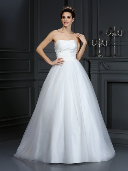 Ball Gown Strapless Sleeveless Court Train Taffeta Wedding Dresses with Pleats
