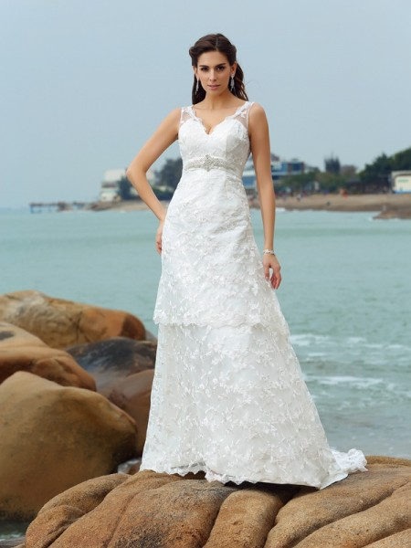 A-Line/Princess Sleeveless Straps Satin Chapel Train Beach Wedding Dresses with Applique