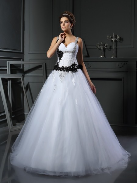 Ball Gown Straps Sleeveless Tulle Chapel Train Wedding Dresses with Applique with Beading