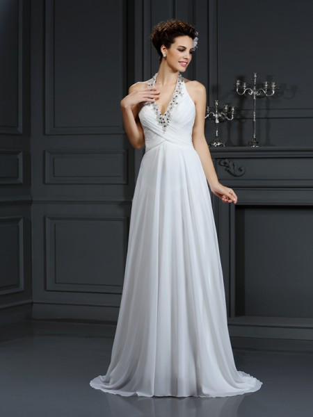 A-Line/Princess Halter Sleeveless Court Train Chiffon Wedding Dresses with Beading