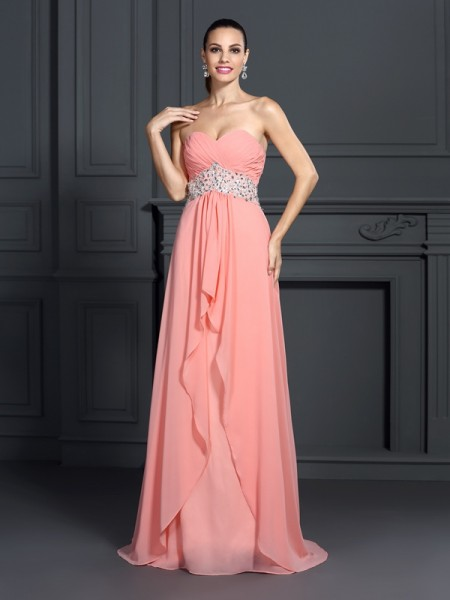 A-Line/Princess Sweetheart Sleeveless Floor-Length Chiffon Prom Dresses with Ruffles