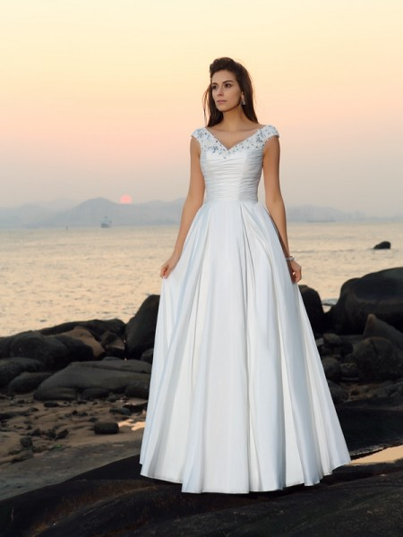 A-Line/Princess V-neck Sleeveless Taffeta Floor-Length Beach Wedding Dresses with Applique with Beading