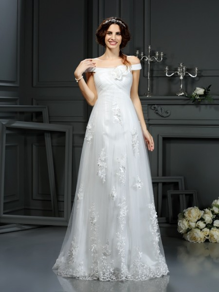 A-Line/Princess Off the Shoulder Sleeveless Court Train Net Wedding Dresses with Applique