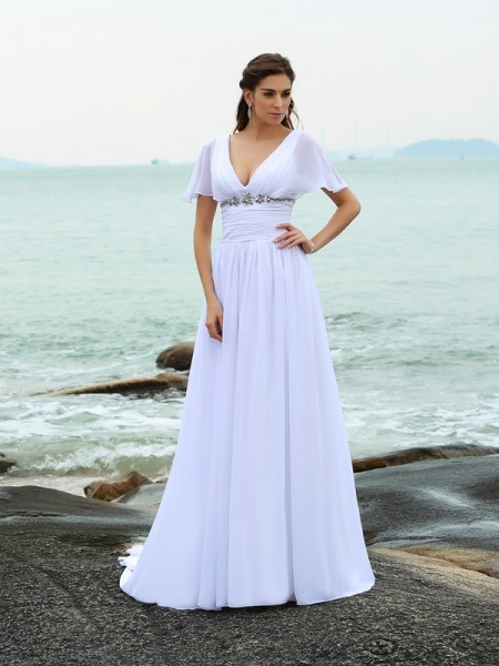 A-Line/Princess V-neck Short Sleeves Sweep/Brush Train Chiffon Beach Wedding Dresses with Ruffles