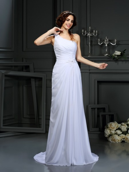 A-Line/Princess One-Shoulder Sleeveless Court Train Chiffon Wedding Dresses with Pleats