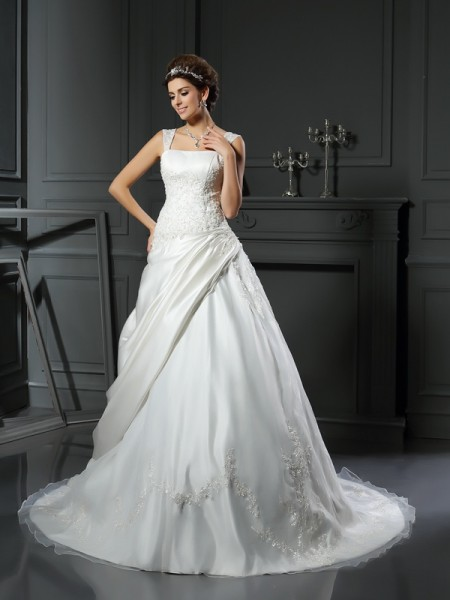Ball Gown Sleeveless Satin Straps Chapel Train Wedding Dresses with Applique
